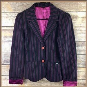 Hurley Black With Magenta Pink Pinstripes Blazer
